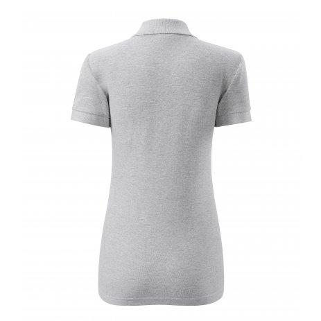 Dámské triko s límečkem MALFINI COTTON 213 SVĚTLE ŠEDÝ MELÍR