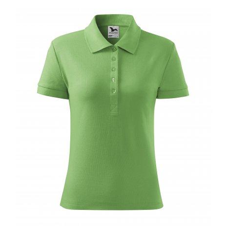 Dámské triko s límečkem MALFINI COTTON 213 TRÁVOVĚ ZELENÁ