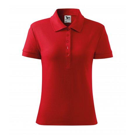 Dámské triko s límečkem MALFINI COTTON 213 ČERVENÁ