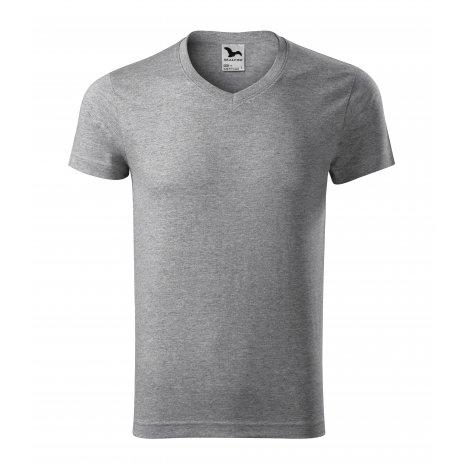 Pánské triko MALFINI SLIM FIT V-NECK 146 TMAVĚ ŠEDÝ MELÍR