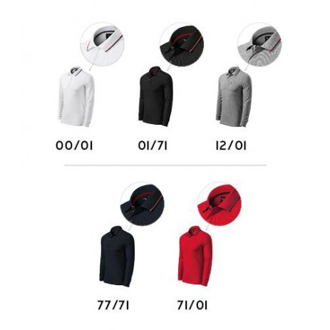 Pánské triko s dlouhým rukávem a límečkem MALFINI PREMIUM CONTRAST STRIPE LS 258 BÍLÁ