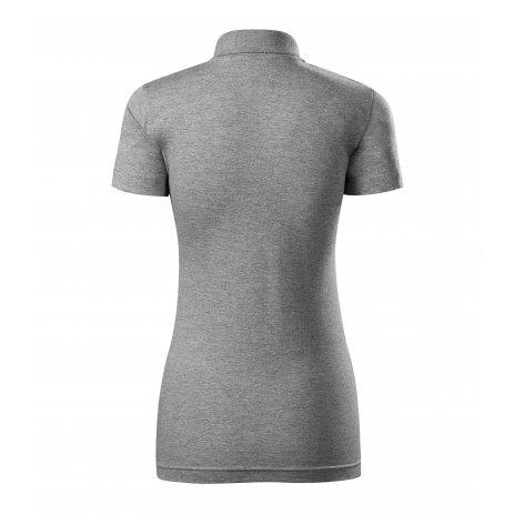 Dámské triko s límečkem MALFINI SINGLE J. 223 TMAVĚ ŠEDÝ MELÍR