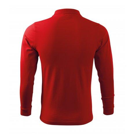 Pánské triko s dlouhým rukávem a límečkem MALFINI SINGLE J. LS 211 ČERVENÁ