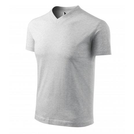 Pánské triko MALFINI V-NECK 102 SVĚTLE ŠEDÝ MELÍR