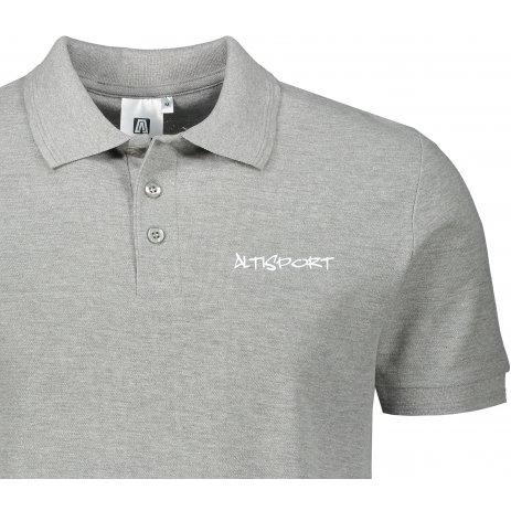 Pánské triko s límečkem ALTISPORT ALM013203 TMAVĚ ŠEDÝ MELÍR