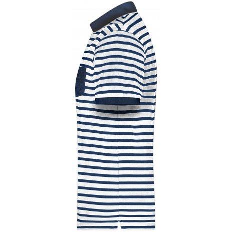 Pánské triko s límečkem JAMES NICHOLSON 8030 WHITE/NAVY