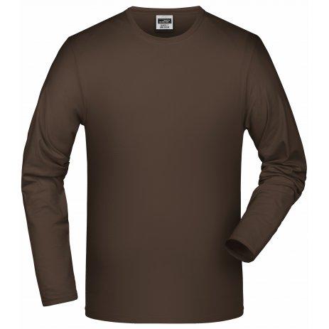 Pánské triko s dlouhým rukávem JAMES NICHOLSON JN056 BROWN