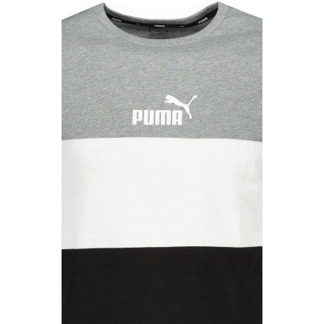 Pánské triko PUMA ESS COLORBLOCK TEE 586908-03 ŠEDÁ