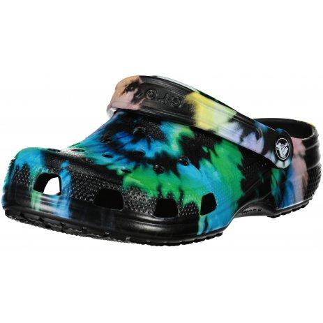 Dámské pantofle CROCS CLASSIC TIE DYE GRAPHIC CLOG 205453-0FN MULTI BLACK/BLACK